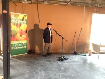 Jim DeLuca, General Manager of Abundance, talks at the press conference at 571 South Ave.
